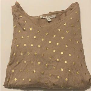 LC Lauren Conrad Gold Polka Dot Sweater